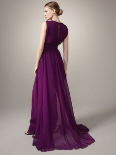 2012 Style Sheath / Column V-neck Beading Sleeveless Floor-length Chiffon Grape Prom Dress / Evening Dress
