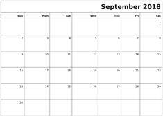 blank calendar september 2018