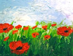 Original Painting Oil Abstract Red Poppies by CynthiaArtGallery, $100.00