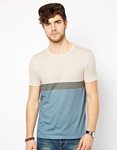 ASOS Stripe T-Shirt With Colour Block