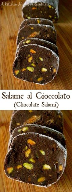 It looks like a blood sausage, but tastes FAR from it! This Salame al Cioccolato recipe will surprise your dinner guests with it's decadent flavor. Serve with cake or with other desserts, this chocolate salami is deliciously different Healthy Desserts, Just Desserts, Delicious Desserts, Dessert Recipes, Chocolate Sausage Recipe, Unsweetened Chocolate, Best Cookie Recipes, Homemade Cookies, Sweet Bread