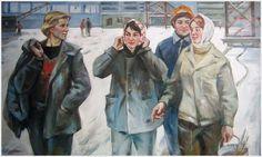 Женщины Страны Советов... Ломакин Олег Леонидович (Россия, 1924 - 2010) «Монтажники» 1978