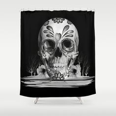 Pulled sugar, day of the dead skull Shower Curtain by Kristy Patterson Design Skull Shower Curtain, Cool Shower Curtains, Bed Curtains, Bathroom Shower Curtains, Bling Bathroom, Skull Decor, Skull Art, Goth Home Decor, Day Of The Dead Skull