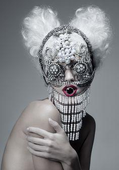 avant garde fashion jewellery headdress mask fashion photography Paco Peregrin Beautiful Monster