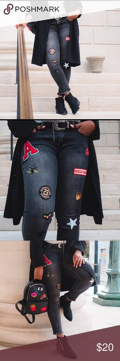 Patched Denim Jeans Black patched denim. Super cute & easy to style. Worn once for the blog Marshalls Jeans