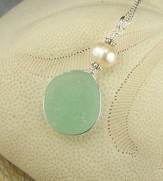 GENUINE Aqua Sea Glass Jewelry Wire Wrapped by seaglassgems4you, $45.00