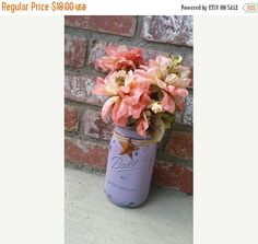 WEDDING SALE Lavender Rustic MASON Jar Vase -  Shabby Chic Pale Lavender over Teal Layered Paint with Barn Star