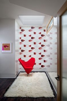 Interior:Beautiful Girl Room Decor With Lips Wallpaper And Red Accent Chair Brilliant Pop Art Interior Ideas Showing Cheerful Atmosphere Loft Interior, Interior Design Photos, Interior Ideas, Interior Decorating, Andy Warhol, Pantone, Chair Design, Furniture Design, Pipe Furniture