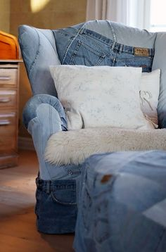 chair upholstered in old jeans
