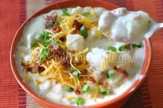 My Favorite Potato Soup Recipe Soups with chicken broth, russet potatoes, cheddar cheese, instant potato flakes, whipping cream, onion, chopped ham, salt