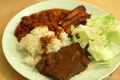josie's kitchen — dominican national dish: la bandera! (the flag: rice, beans, salad, beef, fried plantains)