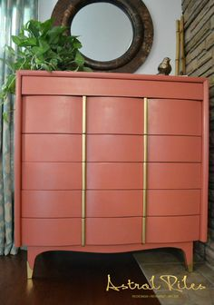 Painted - Coral and Gold Mid Century Modern American of Martinsville Highboy Dresser on astralriles.com  #Behr #HaciendaTile #Rustoleum #Gold #spraypaint #pink