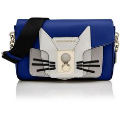 Karl Lagerfeld K/Pin Closure Shoulderbag Cat ($440) ❤ liked on Polyvore featuring bags, handbags, shoulder bags, true blue, blue leather handbag, cat handbag, blue leather purse, leather shoulder handbags and real leather handbags