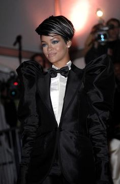 Rihanna's big shouldered tuxedo is a nod to a dark, rockabilly look |15 Gothic Red Carpet Looks #hair #style