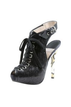 Lace Up Peep Toe Bootie