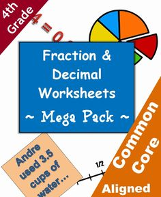 Fraction and decimal worksheets - Mega - Pack - 4th grade. By Betsy Weigle at Classroom Caboodle. Common Core aligned: Math, fraction, decimals.