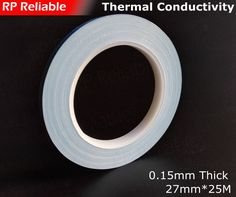 1X 27mm *25M *0.15mm Double Sided Adhesive Thermal Tape Conductive for DC/CD soft Panel LED Light Panel,  Chip, Transistor