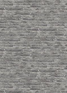 Sample Stone Wall Wallpaper in Grey and Black design by BD Wall