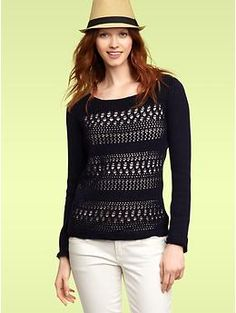 I love this sweater. Maybe with a colored cami.