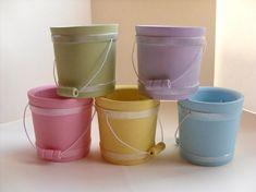 Pastel Wood Bucket - Wedding favor, birthday party, baby shower, Easter basket, spring decor, set of 5 on Etsy, $35.00