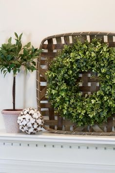 Boxwood Tobacco Basket Wreath, Farmhouse Cottage Country Gallery Wall Decor, Rustic Southern Decor, Fixer Upper Decor This large tobacco basket, boxwood combo looks great above a mantel, bed headboard, or staircase wall. A great complement to any farmhouse decor!!! This boxwood