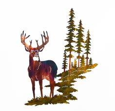 Excited to share this item from my #etsy shop: Whitetail Buck Deer w/ Mountain & Trees Large Metal Wall Art
