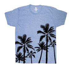 Palm Trees T-shirt Men Graphic Tee Custom Hand Screen Print Tri-Blend Short Sleeve