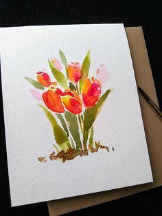 Set of 3 Original Hand painted Watercolor/ Orange Tulips/