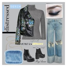 """""""Distressed denin contest"""" by anne-977 ❤ liked on Polyvore featuring Chanel, Simon Miller, Blumarine, Christopher Kane, Vienty, Color Me, distresseddenim and contestpolyvore"""