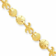 14 Karat Yellow Gold Seashell Theme Bracelet - 7.25 Inch The Black Bow. $1271.00. Average weight 10.3 grams. Polished textured finish. Crafted from 14 karat yellow gold. Features lobster clasp closure