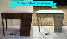 Belle & Beau Antiquarian: Painted Desk Makeover! #painted #furniture
