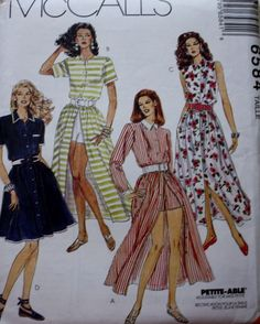McCalls 6584 Button Front Dress and Shorts Sewing Pattern by BluetreeSewingStudio on Etsy