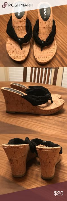 Black crochet cork wedges Super cute crochet wedges. Like new - only worn around the house. They aren't my size :( Shoes Wedges