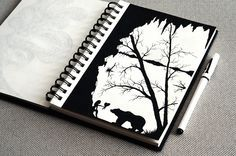 рисунок ручкой, графика, силуэт, природа