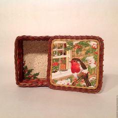 Купить Шкатулка из бумажной лозы Снегирь - коричневый, плетение из бумаги, плетение из бумажной лозы