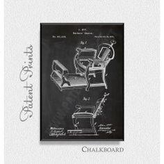 Barbers Chair 1875 Patent Print