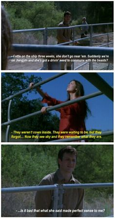 """Is it bad that what she just said made perfect sense to me?"" #firefly"