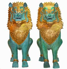 Pair of Vintage Foo Dog Lion Bronze with gold accents by SanMonet