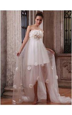 A-line Strapless Asymmetrical Tulle Satin Wedding Dress