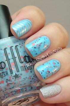 Skittlette featuring Scofflaw Nail Varnish - Paranoid Android and stamping using Vivid Lacquer plates. Scofflaw loved my photo and has it on her website, it is such an honor! I love this sky-blue polish, so perfect for summer.