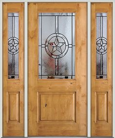 Half-Lite Star Knotty Alder Prehung Wood Door Unit with Sidelites & Rustic knotty alder wood door perfectly compliment the texas star ... Pezcame.Com