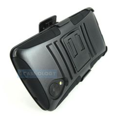 BLACK RUGGED HYBRID CASE COVER+CLIP HOLSTER FOR LG GOOGLE NEXUS 5 PHONE