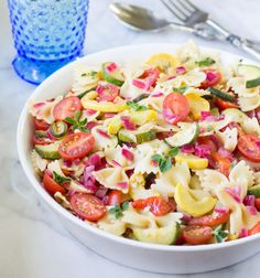 Pasta Salad with Zucchini, Tomatoes, and Roasted Red Peppers