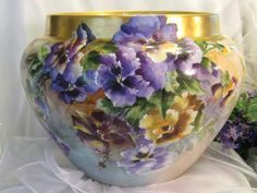 """Absolutely """"STUNNING PANSIES' Wonderful Victorian French Limoges JARDINIERE ~ PLANTER ~ POT Hand Painted Breathtaking Pansies Elite France Circa 1900"""