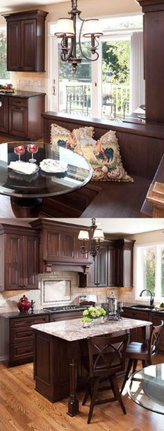 Traditional Kitchen Remodel with Dark cabinetry and L-Shaped Corner Breakfast Nook Designed by Ispiri, Woodbury MN. - Dura Supreme Cabinetry