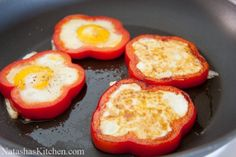 Bell Pepper Egg in a Hole__ The bell pepper adds gorgeous color and a very healthy veggie to your morning.