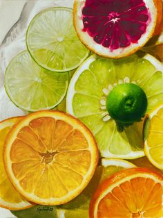 For my kitchen: Cool Citrus, Frank Spino. Watercolor Fruit, Watercolor Paintings, Watercolors, Art Aquarelle, Food Artists, Fruit Painting, Polychromos, Still Life Art, Fruit Art