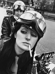 1971  Kickass or badass—whatever you wanna call these tough biker ladies—here's a selection of vintage photos of real-life motorcycle riding women.   Anke Eve Goldmann, 1958   Ann-Margret rode a classic Triumph T100   Bessie Stringfield    Some 70s Harley kickstarting action     Cafe Racer Girl, 1960s.   1949     San Francisco Womens Motorcycle Unit, 1940   Dispatch Riders   Beryl Swain, 1962   A woman on her BMW motorcycle, 1935   The Riverhill Riders Club, 1962   Repairing…
