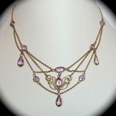 art nouveau necklace | Art Nouveau Gold Filled Festoon Necklace w Purple Glass Jewels from ...