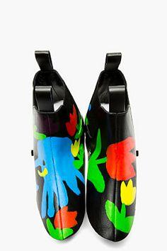 Comme Des Garçons Black Hand Painted Chelsea Boot Spats for women | SSENSE